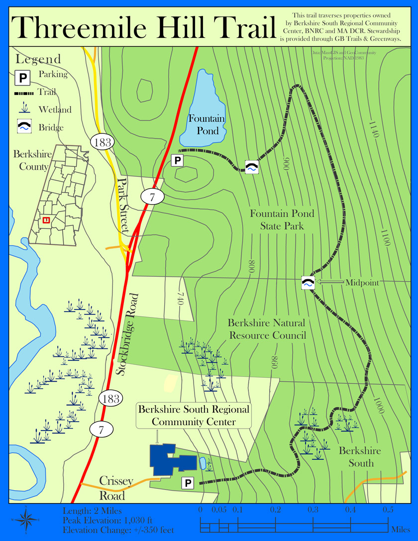 Threemile  Hill Trail Map