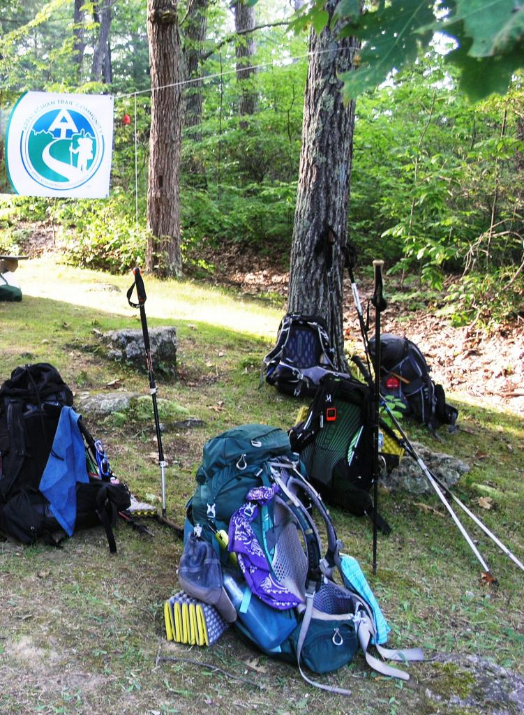 A.T. Through hikers parked their packs to relax and refuel.