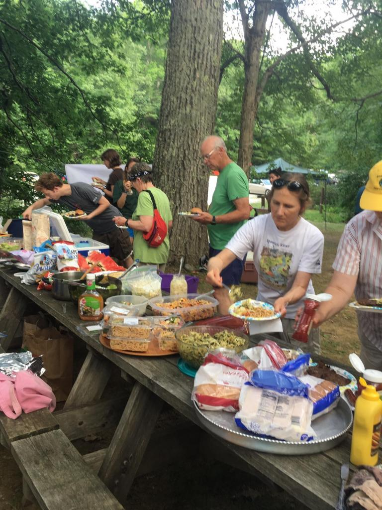 At 5 pm A potluck dinner was provided by community members and open to hungry Through-hikers