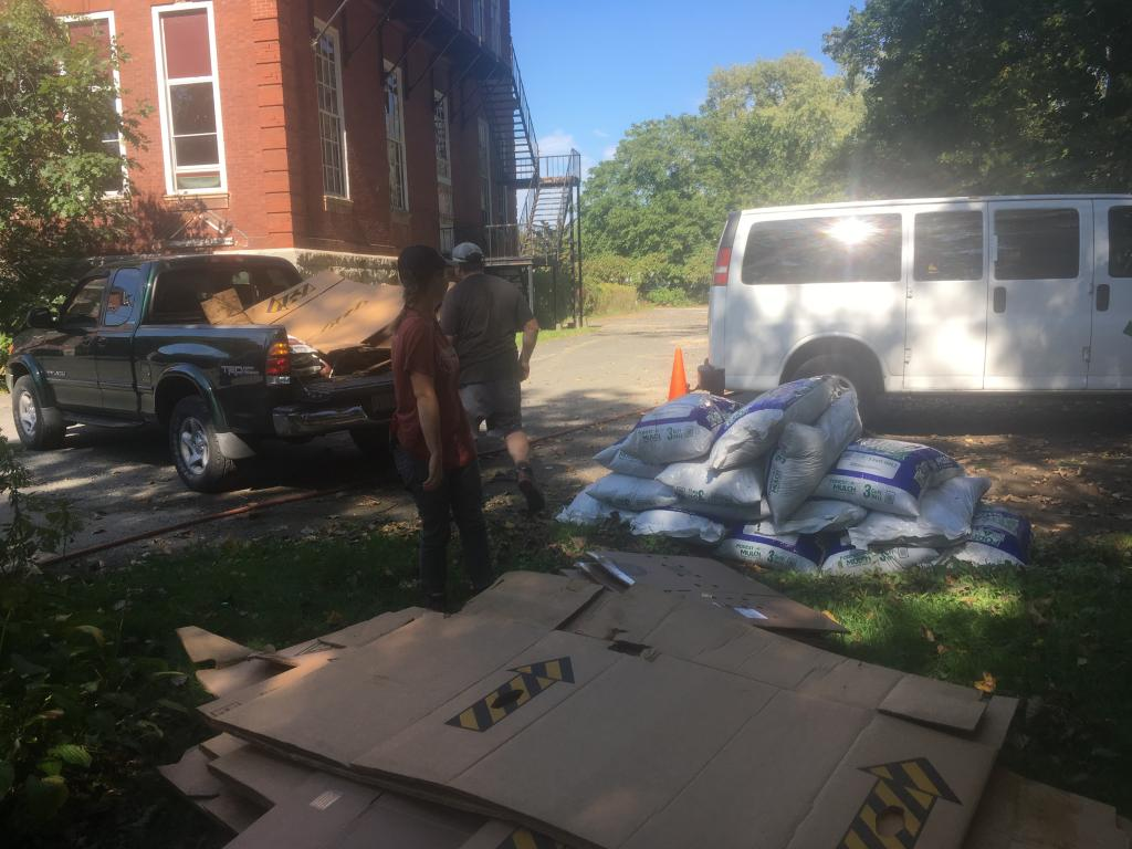 Ward's Nursery contributed cardboard, bags of mulch, and organic fertilizer.