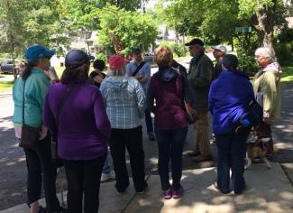 Historian Bernie Drew leads a history hike in Great Barrington in Celebration of National Trails Day
