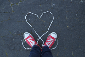 sneakers shoelaces in heart shape