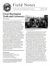 Great Barrington Land Conservancy Newsletter Cover - 2008