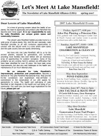 Lake Mansfield Newsletter Cover - 2007