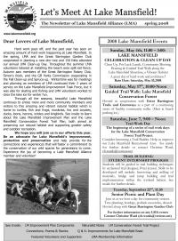Lake Mansfield Newsletter Cover - 2008